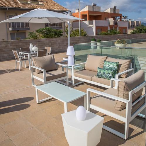 Nice - Salon de jardin en aluminium blanc et taupe | Décoration ...
