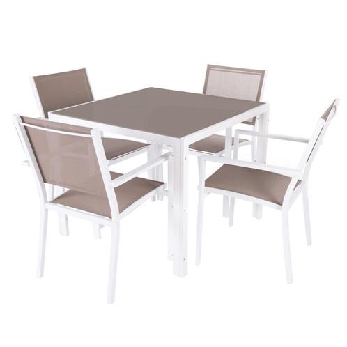 Nice - Salon de jardin 1 table carrée / 4 Fauteuils en aluminium ...