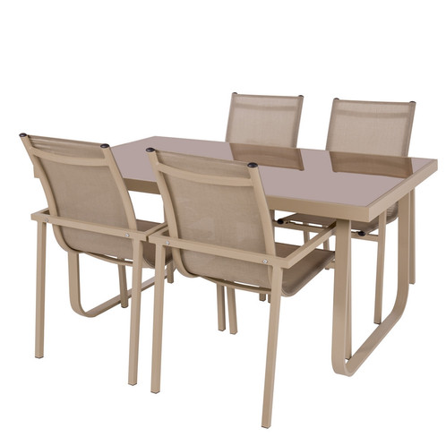 Antibes - Salon de jardin 1 Table / 4 Fauteuils aluminium taupe ...