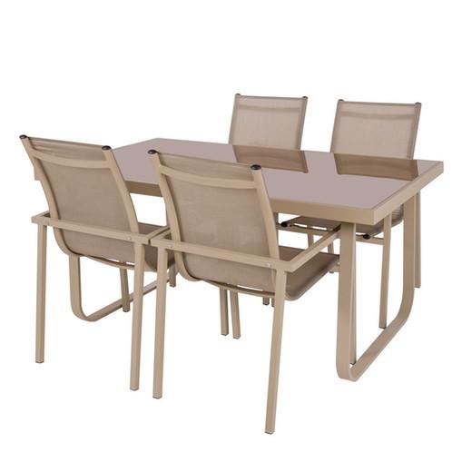 Antibes - Salon de jardin 1 Table / 4 Fauteuils aluminium taupe