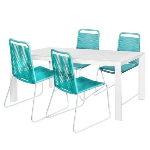 Aruba - Salon de jardin 1 table blanc & 4 chaises bleu