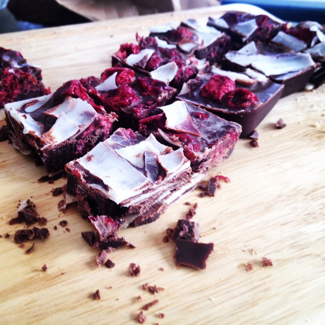 Sour cherry and coconut raw chocolate block