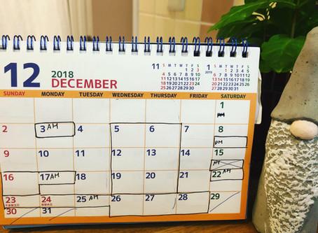 12月と年末年始のスケジュール
