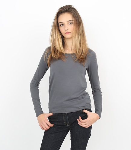 Tee-shirt gris Femme manches longues