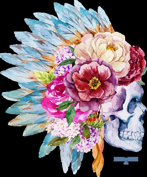 Tête de mort fleurs