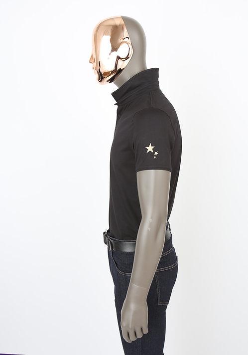 Polo noir étoile beige