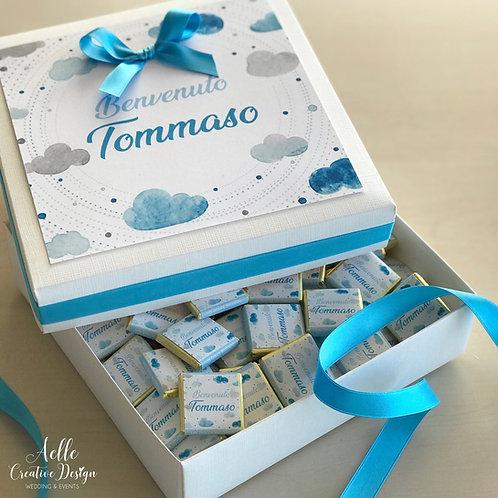 Box Nascita completo di n. 100 Cioccolatini Personalizzati