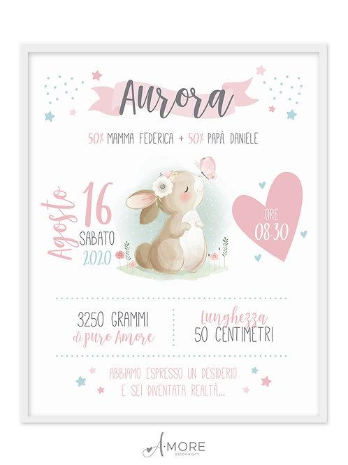 """Quadro Nascita """"Coniglietto"""""""