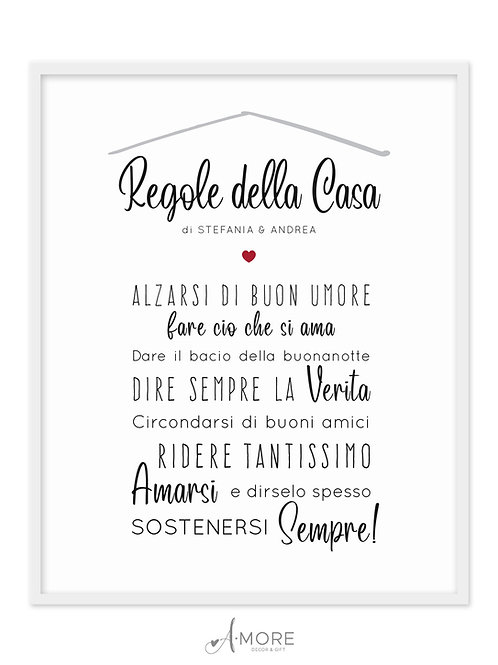 """Quadretto """"Regole della Casa"""""""