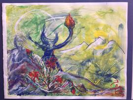 Der Berg, MixMedia auf Papier, 50x70 cm