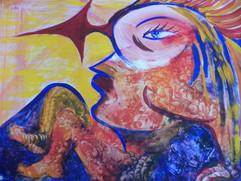 Die Pfeilfrau, Gouache auf Karton,  50x