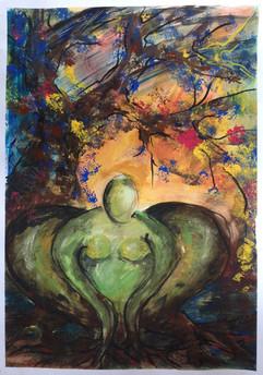 Ohne Titel, Gouache auf Leinwand, 50x70