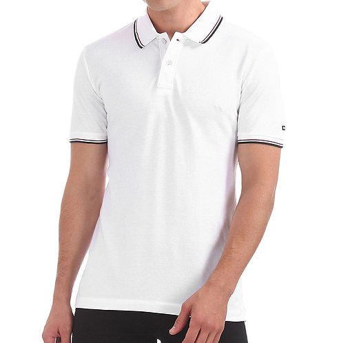 Arrow Solid Men White Polo Neck T-Shirt