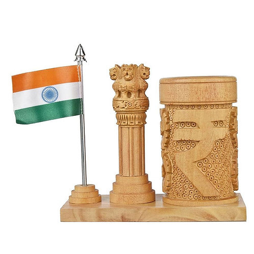 Wooden Ashoka Pillar & Penholder With India Flag