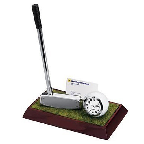 Elegant Golf Desktop Set with Clock