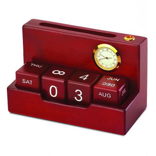Perpetual Wooden Calendar With Clock