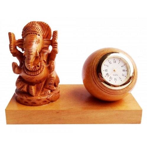 Wooden GaneshJi with Clock