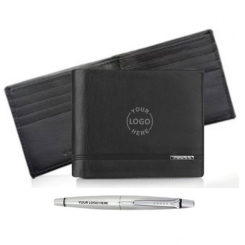 Cross Slim Wallet with Luxury Agenda Pen