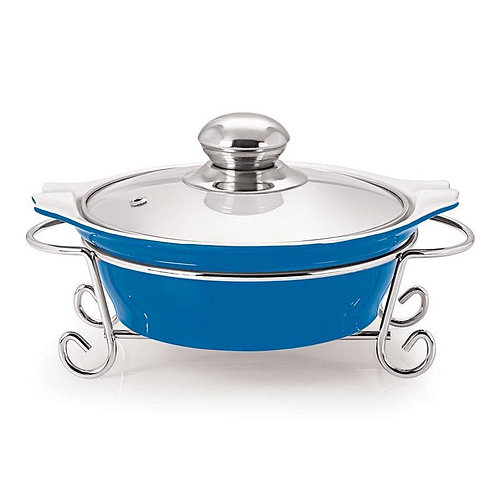 Cucina Round Casserole With Metal Stand