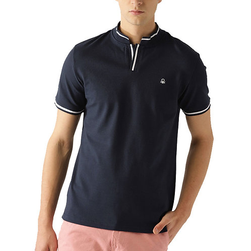 UCB Navy Blue Solid Stand Polo Neck T-Shirt