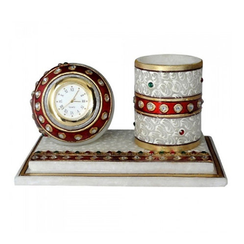 Marble Pen Holder With Clock
