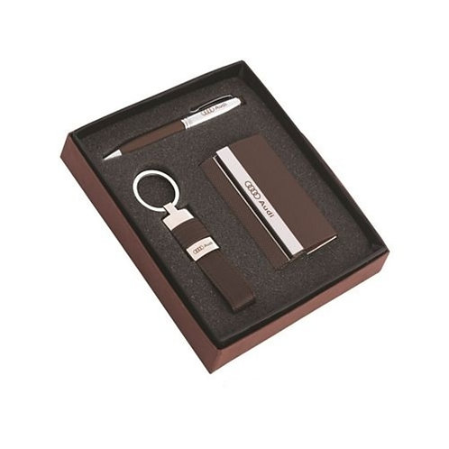 3 in 1 Set - Card Holder, Leatherette Keychain & Pen