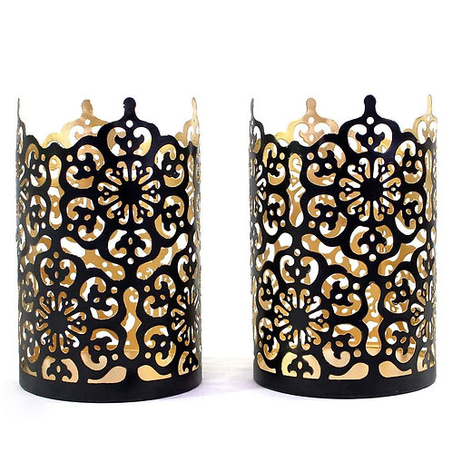 Black & Gold Metal Tea Light Holder