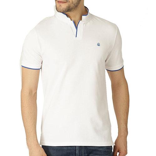 UCB White Solid Mandarin Polo Neck T-shirt