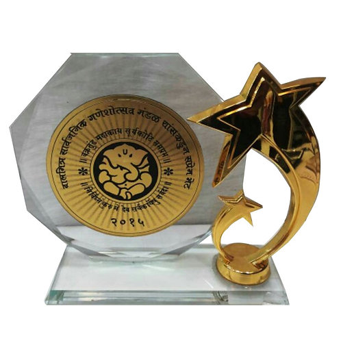 Round Crystal with Brass Star Trophy