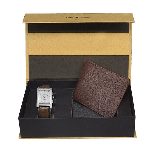 White Men's Wallet and Watch Combo