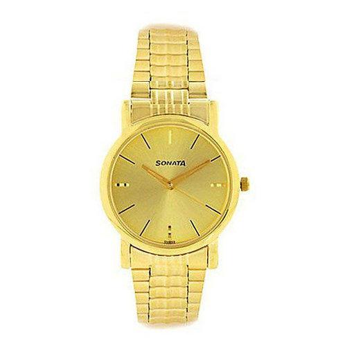 Sonata Golden Analog Watch NH7987YM01CJ