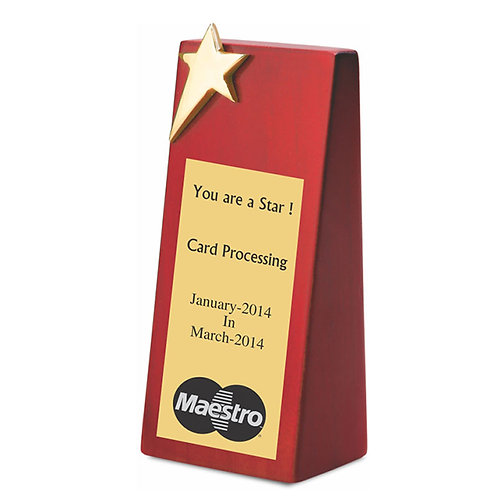 Star Plaque trophy with Wooden Base