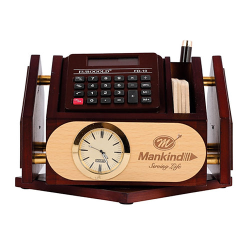 Revolving Pen Stand With Coasted Plates & Calculator