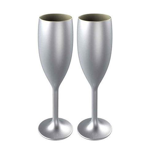 Silver Star Flute Champagne Glass - Pack of 2
