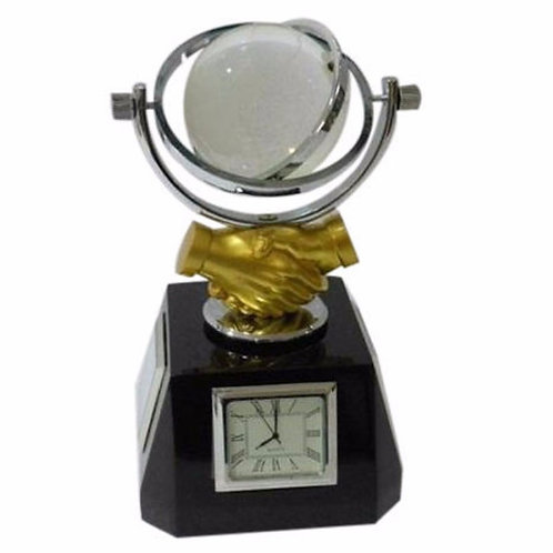 Desktop Shake Hand Globe Clock