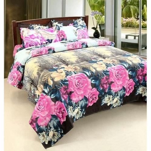 Floral Print Glace Cotton Bedsheet