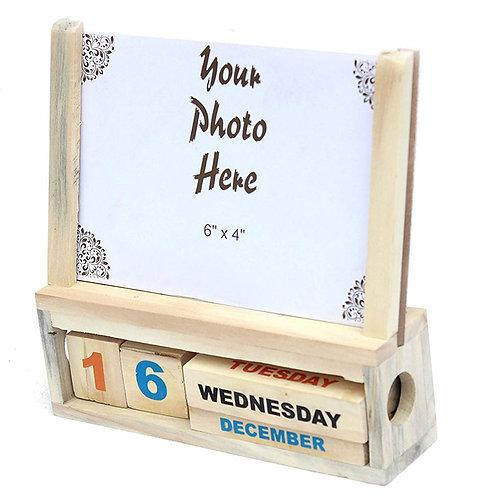 Wooden Calendar with A Photoframe