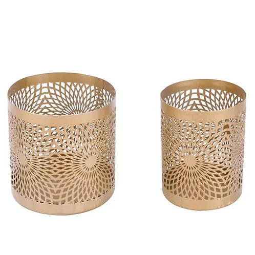 Gold Iron Hurrican Tea Light Holder
