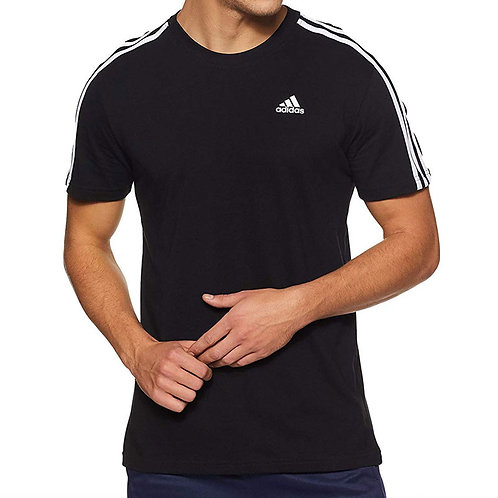 Adidas Black Round Neck T-Shirt with White Piping