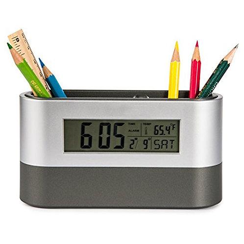 Stationery Holder & Desk Top Clock