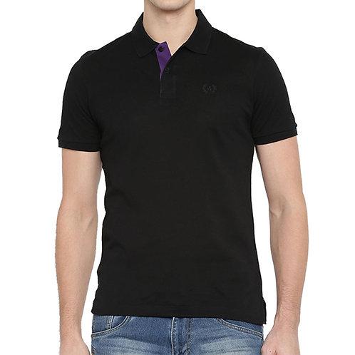 Arrow Black Solid Polo Neck T-shirt
