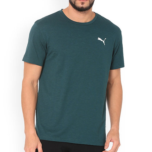 Puma Men Green Solid Round Neck T-Shirt