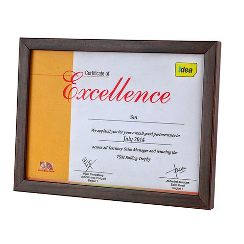 Wooden Frame Certificate