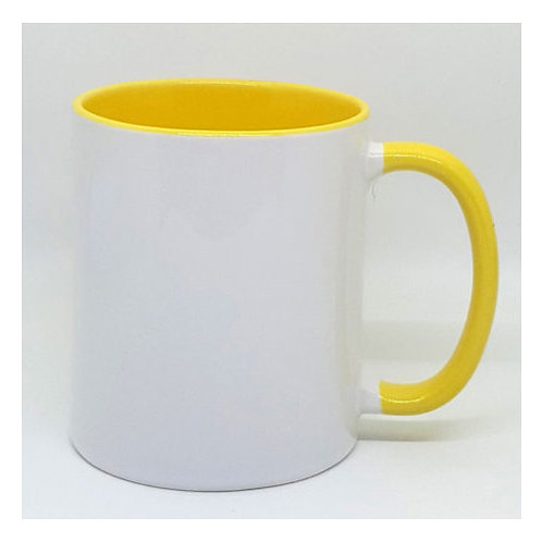 White Ceramic Mug with Colored Inside and Handle