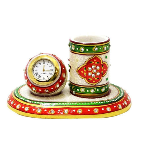 Multi-color Marble Table Round Clock