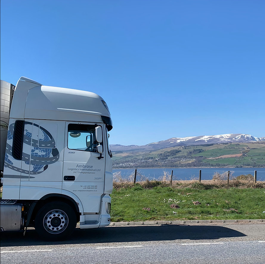 Vehicle overlooking mountains