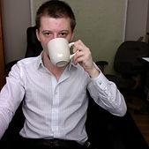 Jeremy Bittle drinking coffee