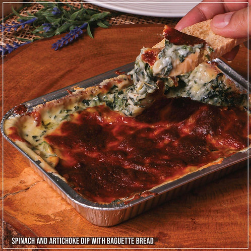 Spinach and Artichoke Dip with Baguette Bread