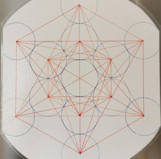 cube de metatron main - rouge et bleu
