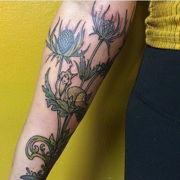 Thistle and Snail Tattoo